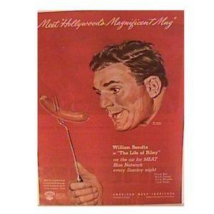1945 William Bendix Life Of Riley Weiner Print Ad